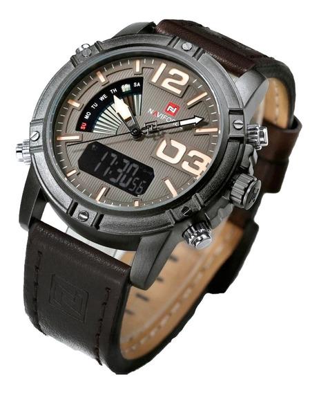 Relógio Masc Pulseira De Couro Exclusivo Nf9095 Confira
