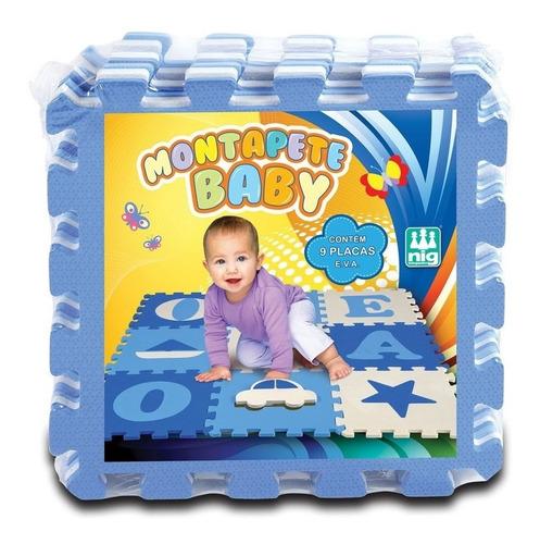 Imagem 1 de 2 de Montapete Tatame Eva Vogais Menino Azul 9 Placas Brinquedo