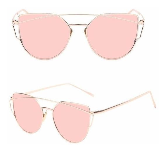 Oculos Sol Feminino Olho De Gato Espelhado Gatin Retro Rosa