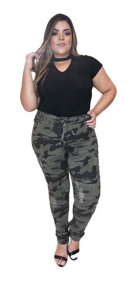 Calça Jeans Moda Plus Size Rasgada Com Lycra Lançamento