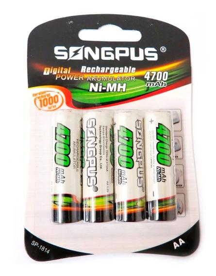4 Pilhas Aa Recarregável Ni-mh Mah Songpus - Full