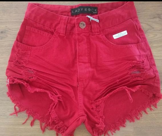 Shorts Cintura Alta Hotpants Destroyed Lady Rock Original