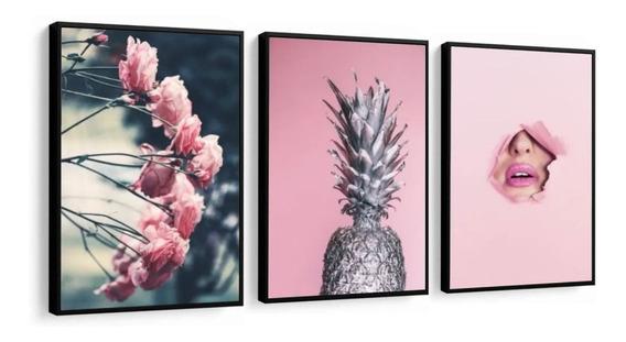 Quadro Decorativo Salão De Beleza Rosa Abacaxi Tons Rose