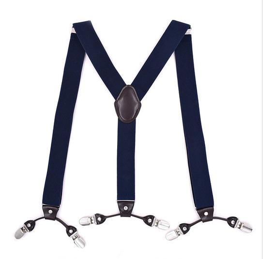 Camisa Masculina Suspensórios Couro Elástico 6 Clip-on Cin