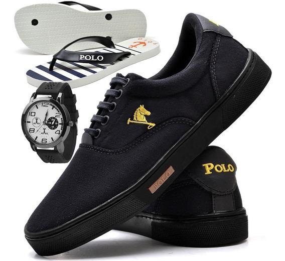 Tenis Masculino Polo Joy Sapato Sapatenis Chinelo + Relógio