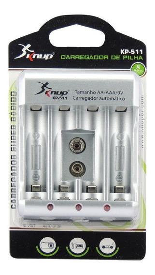 Carregador De Pilhas Universal Aa Aaa 9v Bivolt Knup Kp-511