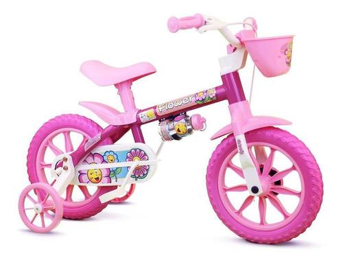 Imagem 1 de 8 de Bicicleta Feminina Infantil Nathor Flower Aro 12 Rosa