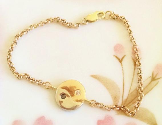Pulsera Yin Yang Con Diamantes Oro Amarillo Y Blanco De 14k