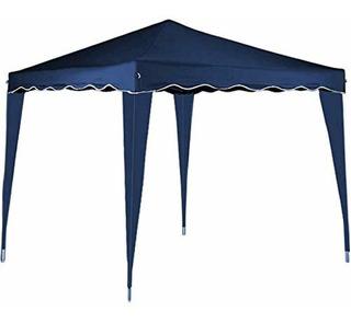 Gazebo Azul Canopy Impermeable 10x10 Ft Con Marco De Metal