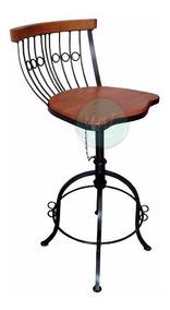 Cadeira Banqueta Ferro E Madeira Bistrô Giratória Regulagem