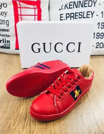 Tenis Gucci Masculino Vermelho Sapatenis Mosca Frete Grátis