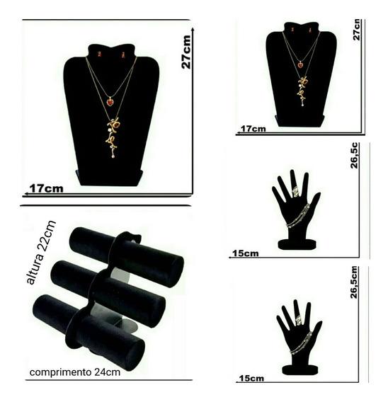 Suporte 1 Porta Pulseira (2) Mão Anéis (2) Busto Veludo