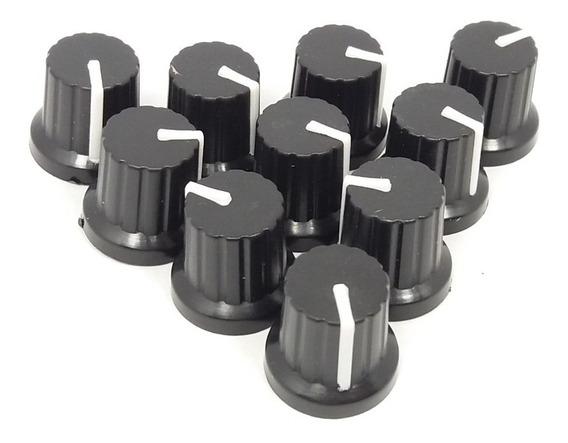 Knob 6mm Preto C Marcador Branco P Potenc Estriado - 10 Pçs