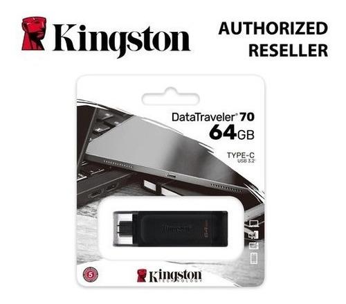 Pen Drive De 64gb Kingston Datatraveler 70 Usb-c - Preto