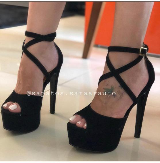 Sandália Pump Cruzada, Salto 15cm Várias Cores