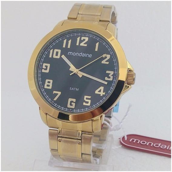 Relógio Masculino Mondaine Dourado Original Novo Super Vip