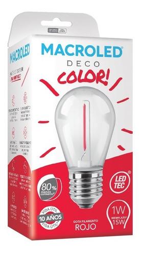 Macroled Lampara Led Deco Color Rojo Gota 1w S14 E27 80x45mm