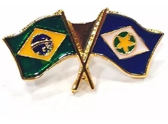 Pim Bótom Broche Pin Bandeira Estado Do Mato Grosso Folheado