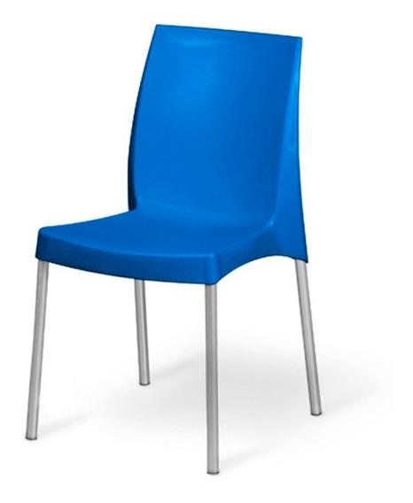 Cadeira De Plástico Azul Pés Em Alumínio Jasmim Planmar
