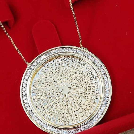 Colar Pai Nosso Zirconia Cristal Folheado A Ouro Cl1558