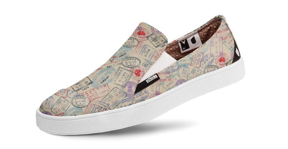 Tênis Usthemp Slip-on Vegano Casual Estampa Passport