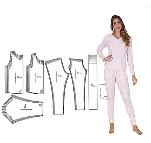 Imagem 1 de 5 de Molde Pijama Adulto Feminino/masculino