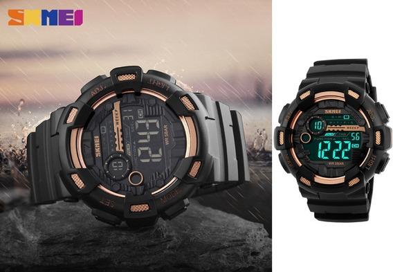 Relógio Skmei 1243 Digital Esportivo Dourado Top
