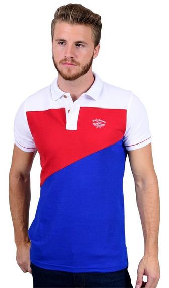 Camisas Polo Porto Blanco Algodon Hombre Azul Y Roja