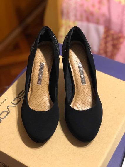 Stilettos Viamarte Negros Gamuzados Talle 38 Como Nuevos