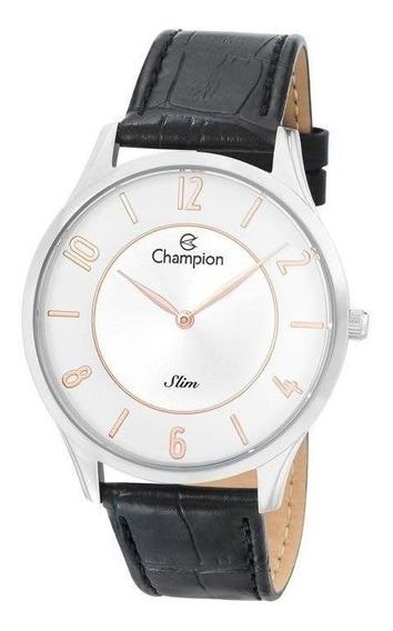 Relógio Champion Masculino Ref: Ca21759s Slim Prateado