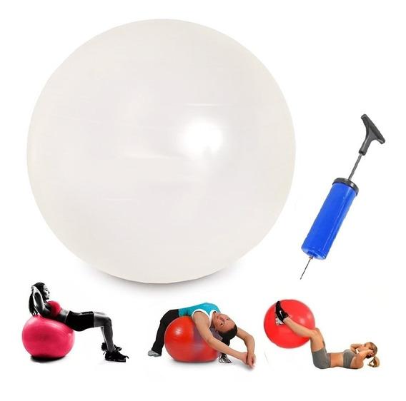 Bola Suiça Pilates Yoga 55cm Branca/vermelha C/ Bomba Fit-17