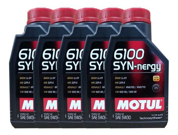 Kit Com 5 Litros De Óleo Sintético Motul 6100 Syn-nergy 5w30