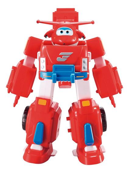 Super Wings Boneco Com Robô Transformável Jett Fun Vermelho