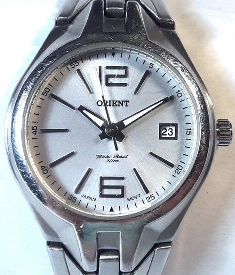 037 Rlg- Relógio De Pulso Orient Analógico Prata Prova Dágua