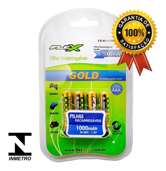 Baterias Rec. Entrega Imediata Tipo Aaa 1000 Flex-4 Unidades