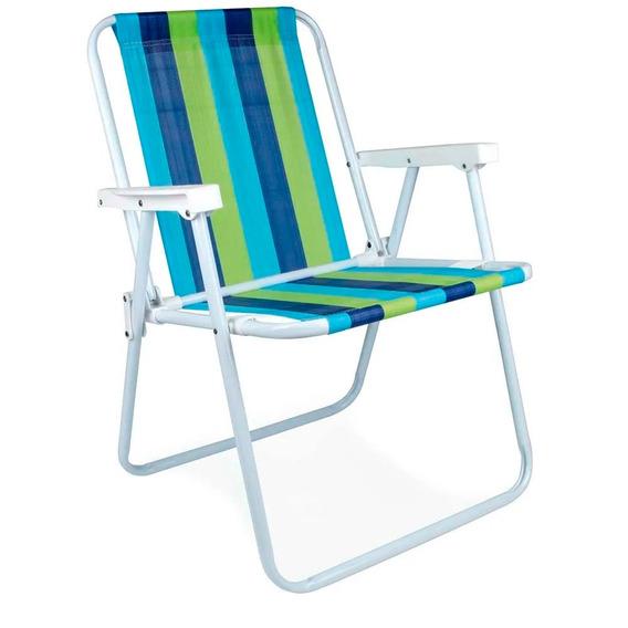 Cadeira Praia Piscina Varanda Alta Aço Dobrável Mor Promoção