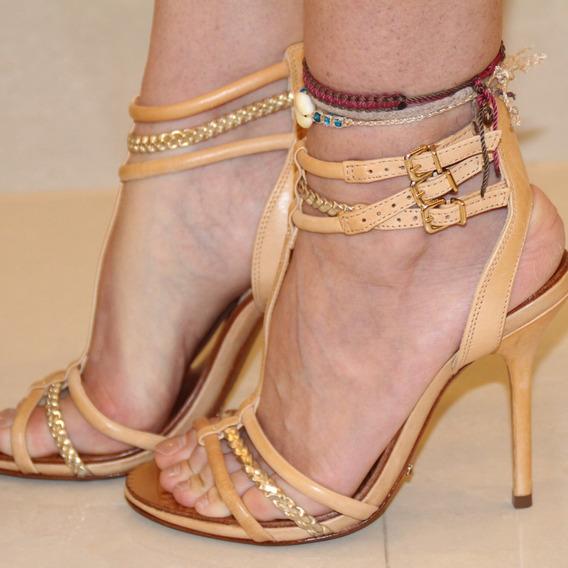 Sandália Salto Alto Bicolor Nude E Dourada Schutz