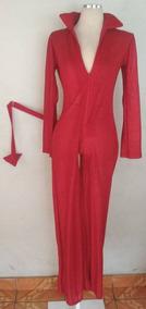 Disfraz Entero Rojo Con Brillos Y Cola De Diabla