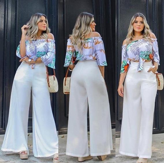 Calça Longa Modelo Zíper Com Bolso Pantalona Branca Viscose