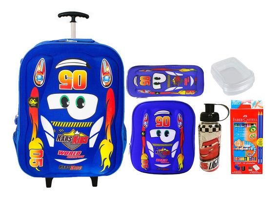 Mochila Menino Rodinhas Escolar Infantil Carros 5005 + Kit