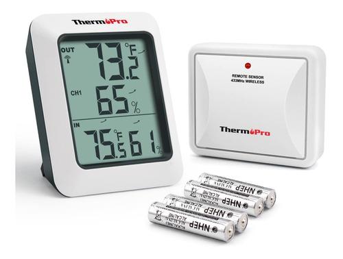 Imagen 1 de 7 de Termómetro Higrómetro Dual Interior Exterior Thermopro Tp-60