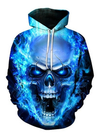 Blusa Casaco Moletom Capuz 3d Cranio Chama Frete Gratis