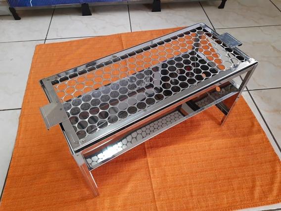 Churrasqueira De Bancada Em Aço Inox C/ Grelha 50x22cm