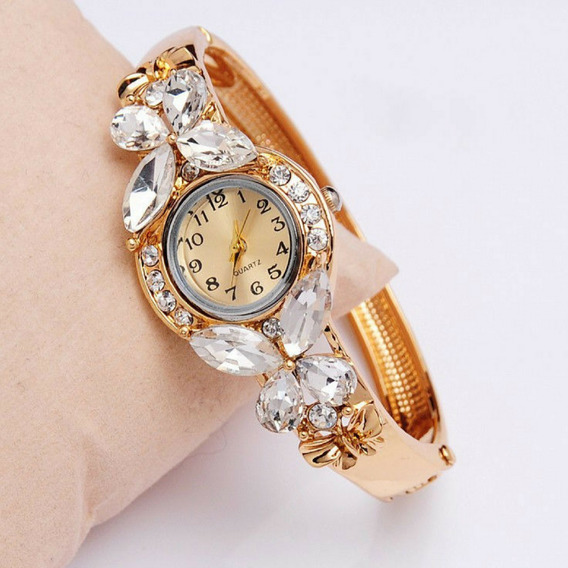 Relógio Feminino Bracelete Barato Pedras Promoção Luxo Top