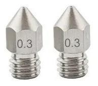 Imagem 1 de 5 de 2 Bicos - Nozzle - Aço Inox - 1.75mm - 0.3mm - Hotend