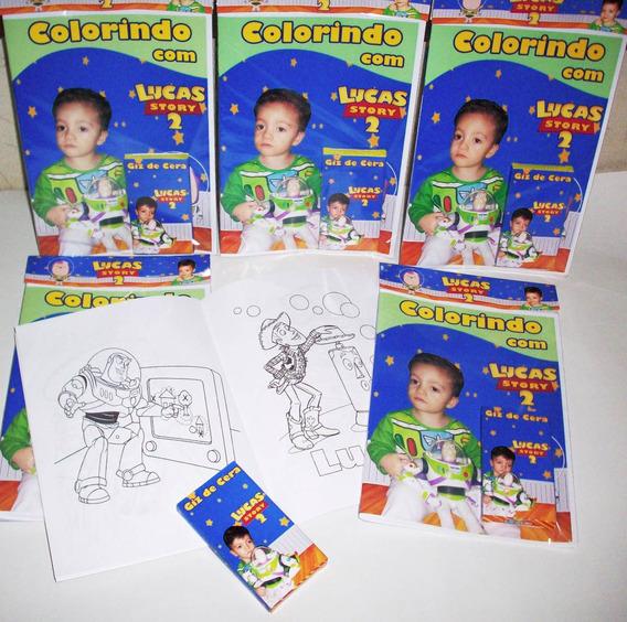 100 Revista De Colorir Personalizada+giz De Cera - 15x21cm