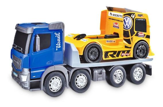 Caminhão De Brinquedo Huracan Plataforma E Carrinho Menino