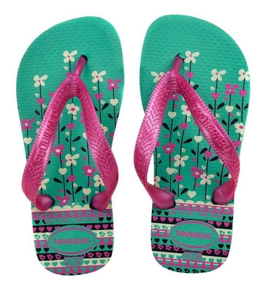 Chinelo Havaianas Kids Flores Menina - 10165b Verde