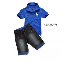 6e06788d071 Conjunto Polo Camiseta + Bermuda + Suspensório Infantil