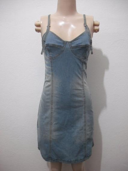 Vestido Jeans Natural Basic Com Strech Tam P Usado Bom Estad